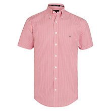 Buy Gant American Banker Bengal Stripe Short Sleeve Shirt, Red Online at johnlewis.com