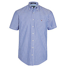 Buy Gant Breton Oxford Stripe Short Sleeve Shirt, Yale Blue Online at johnlewis.com
