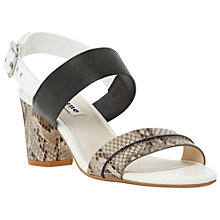 Buy Dune Joro Snake Leather Sandals, Black/White Online at johnlewis.com