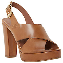 Buy Dune Jaid Block Heel Leather Sandals, Tan Online at johnlewis.com