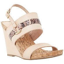 Buy Dune Kimmie Reptile Print Leather Wedges, Blush Online at johnlewis.com