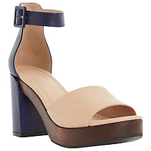 Buy Dune Jaunt Leather Heeled Sandals, Nude/Navy Online at johnlewis.com