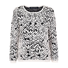 Buy French Connection Leopard Jumper, Summer White/Black Online at johnlewis.com
