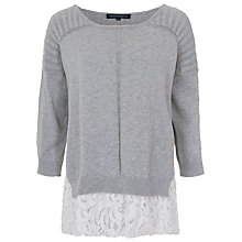 Buy French Connection Lilly Lace Jumper, Light Grey Online at johnlewis.com