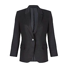 Buy Jigsaw Linen Blend Blazer, Black Online at johnlewis.com