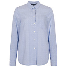 Buy French Connection Dotty Pin Cotton Long Sleeve Classic Shirt, White/Blue Online at johnlewis.com