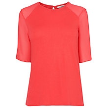 Buy L.K. Bennett Exton Silk Panel Jersey Top, Jelly Bean Online at johnlewis.com