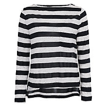 Buy French Connection Horizon Stripe Long Sleeve Top, Grey/Black Online at johnlewis.com