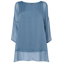 Buy Phase Eight Elysia Silk and Jersey Blouse, Denim Online at johnlewis.com