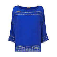 Buy Phase Eight Maude Crepe Cutwork Blouse, Amparo Blue Online at johnlewis.com