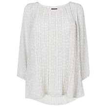 Buy Phase Eight Nicole Spot Pleated Blouse, Silver/Ivory Online at johnlewis.com