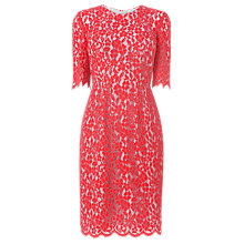 Buy L.K. Bennett Wardour Lace Overlay Dress, Jelly Bean Mist Online at johnlewis.com