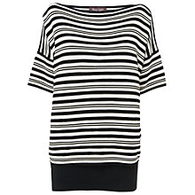 Buy Phase Eight Ivanna Striped Double Layered Knitted Jumper, Black/Ivory Online at johnlewis.com