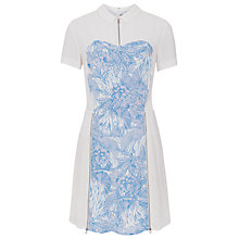 Buy French Connection Flight Of Fancy Pleated Shirt Dress, White/Tampa Bay Multi Online at johnlewis.com