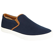 Buy John Lewis Slip-On Contrast Trim Canvas Trainers, Navy Online at johnlewis.com