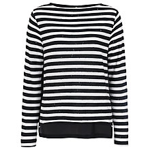 Buy French Connection Railroad Stars Long Sleeve Top, Black/White Online at johnlewis.com