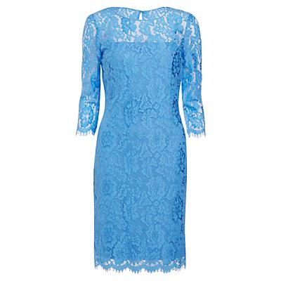 Gina Bacconi Scalloped Flower Lace Dress, Blue