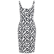 Buy French Connection Downtown Grid Strappy Dress, Summer White/Black Online at johnlewis.com