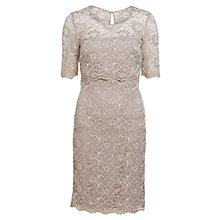 Buy Gina Bacconi Scalloped Lace Tiered Dress, Latte Online at johnlewis.com
