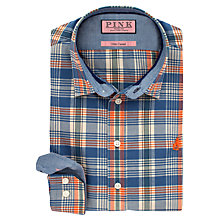 Buy Thomas Pink Robertson Check Slim Fit Shirt, Blue/Orange Online at johnlewis.com