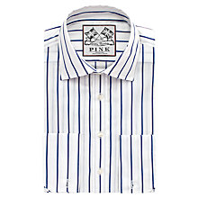 Buy Thomas Pink Alford Stripe Slim Fit Double Cuff Shirt, White/Navy Online at johnlewis.com