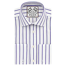 Buy Thomas Pink Alford Stripe Slim Fit Double Cuff Shirt, White/Purple Online at johnlewis.com