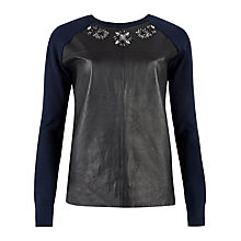Buy Ted Baker Leather Mix Embellished Jumper, Black/Blue Online at johnlewis.com