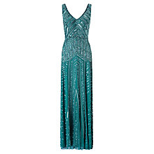 Buy Adrianna Papell Long Beaded Dress, Hunter Online at johnlewis.com