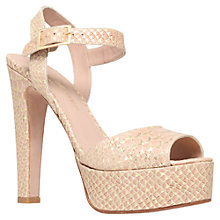 Buy Kurt Geiger Gen Platform High Heeled Sandals, Gold Comb Leather Online at johnlewis.com