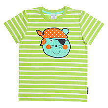 Buy Polarn O. Pyret Children's Stripe Animal Appliqué T-Shirt, Green Online at johnlewis.com