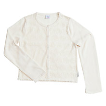 Buy Polarn O. Pyret Girls' Pointelle Cotton Cardigan, White Online at johnlewis.com