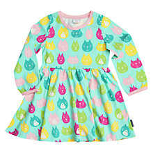 Buy Polarn O. Pyret Girls' Cat Print Dress, Blue Online at johnlewis.com