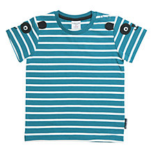 Buy Polarn O. Pyret Baby Stripe Appliqué T-Shirt, Blue Online at johnlewis.com