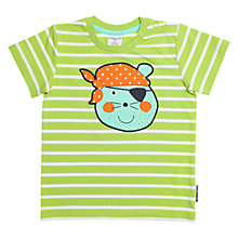 Buy Polarn O. Pyret Baby Stripe Pirate Animal T-Shirt, Green Online at johnlewis.com