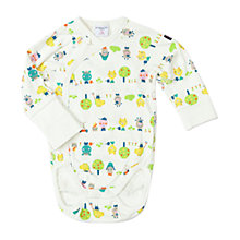Buy Polarn O. Pyret Baby Animal Motif Bodysuit, White Online at johnlewis.com