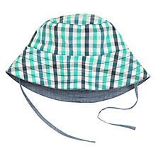 Buy Polarn O. Pyret Baby Reversible Check Sun Hat, Blue Online at johnlewis.com