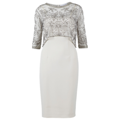 Gina Bacconi Moss Crepe Beaded Mesh Dress, Butter Cream
