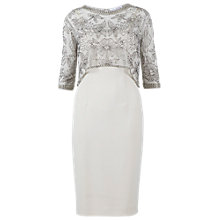 Buy Gina Bacconi Moss Crepe Beaded Mesh Dress, Butter Cream Online at johnlewis.com