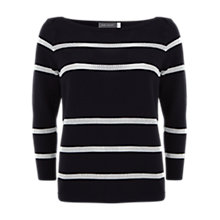Buy Mint Velvet Stripe Knit Jumper, Navy / Ivory Online at johnlewis.com