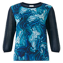 Buy Jigsaw Agate Print Front Jumper, Navy Online at johnlewis.com