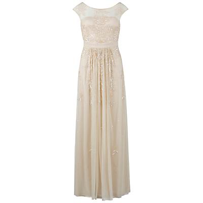 Gina Bacconi Beaded Mesh Dress, Butter Cream