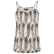 Buy Warehouse Feather Print Embellished Cami, Cream Online at johnlewis.com