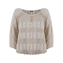 Buy Mint Velvet Embroidered Blouson Top, Neutral Online at johnlewis.com