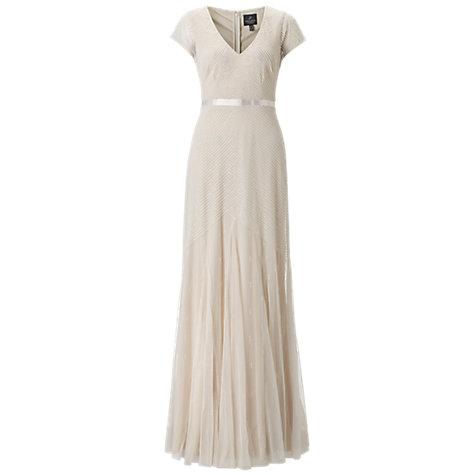 Buy adrianna papell wedding long beaded dress cream for John lewis wedding dresses