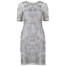 Buy Gina Bacconi Beaded Mesh Dress, Silver Online at johnlewis.com