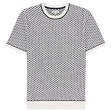 Buy Reiss Flanders Contrast Stitch Short Sleeve Jumper, White/Navy Online at johnlewis.com