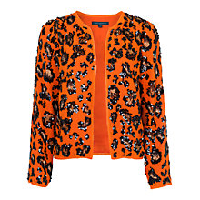 Buy French Connection Sequin Leopard Jacket, Nasturium/Black Online at johnlewis.com