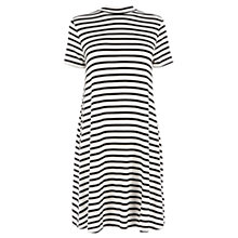 Buy Warehouse Striped Swing Dress, Black Online at johnlewis.com