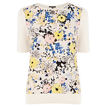 Buy Warehouse Pretty Floral Woven T-Shirt, Cream Online at johnlewis.com