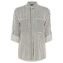 Buy Warehouse Stripe Relaxed Shirt, Black Online at johnlewis.com